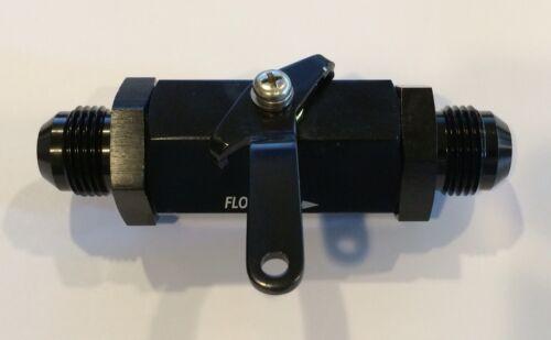 Y972-6AN 6AN Aluminum Inline Fuel Shut Off Valve Cut Off w// Cable Lever Black 6