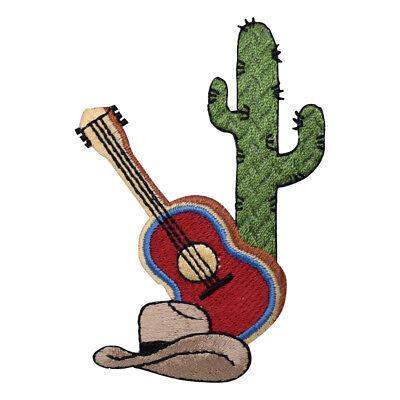 "Guitar Western Badge 3.25/"" Iron on Cowboy Hat Cactus Applique Patch"