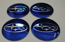 SUBARU HUB CAPS BADGE EMBLEMA ADESIVI IN METALLO 56.5mm Set di 4 di alta qualità