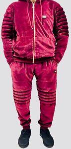 Time Is Money Velour Tracksuit Biker Star Hiphop Mens Slim Fit Burgundy Premium Ebay