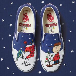 c8819c911f NEW Vans Peanuts Classic Slip On Christmas Tree Charlie Snoopy Men s ...