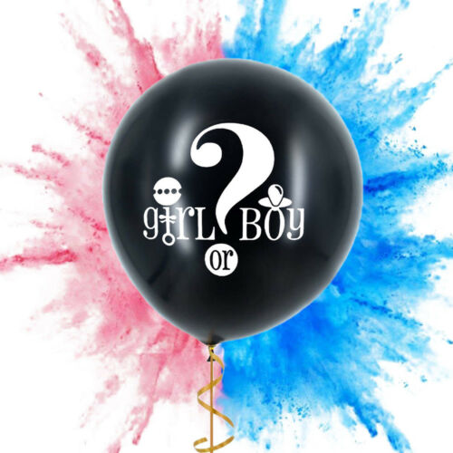 Reveal Party Black Giant Confetti Balloon Kit Girl or Boy With Tassels Oh Baby