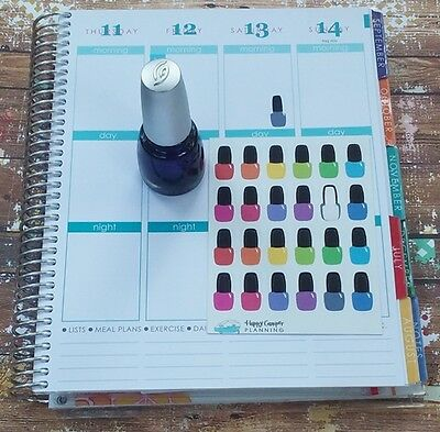 Nail Polish Bottles Planner Stickers, Manicure, Mani Pedi