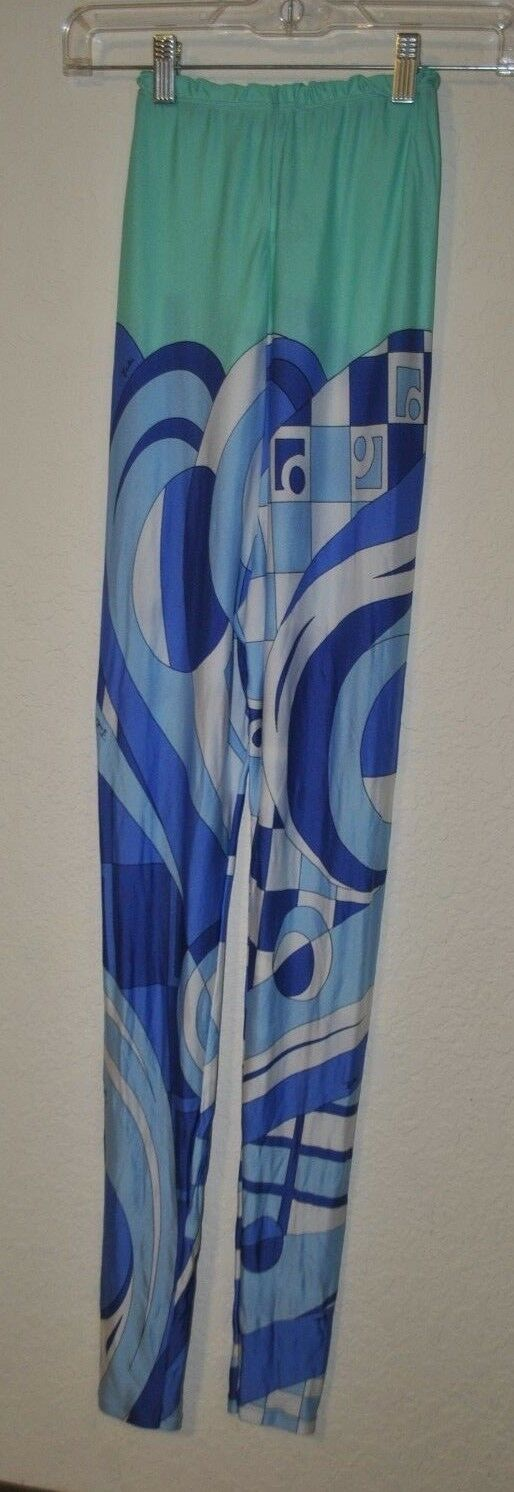 Emilio Pucci vintage Leggings Turquoise bluee Classic print sz L PREOWNED