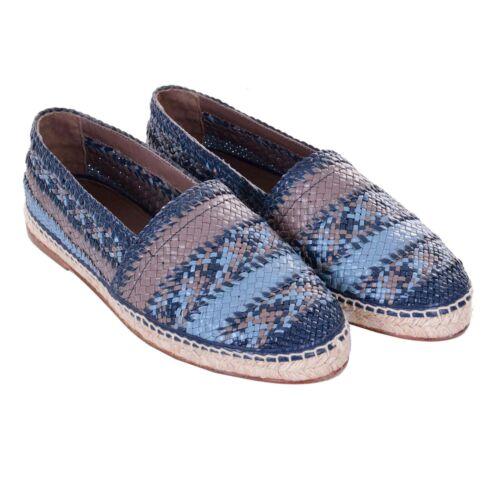 Dolce /& Gabbana Cuir Chamois Espadrilles Chaussures Tremiti Bleu Gris Marron