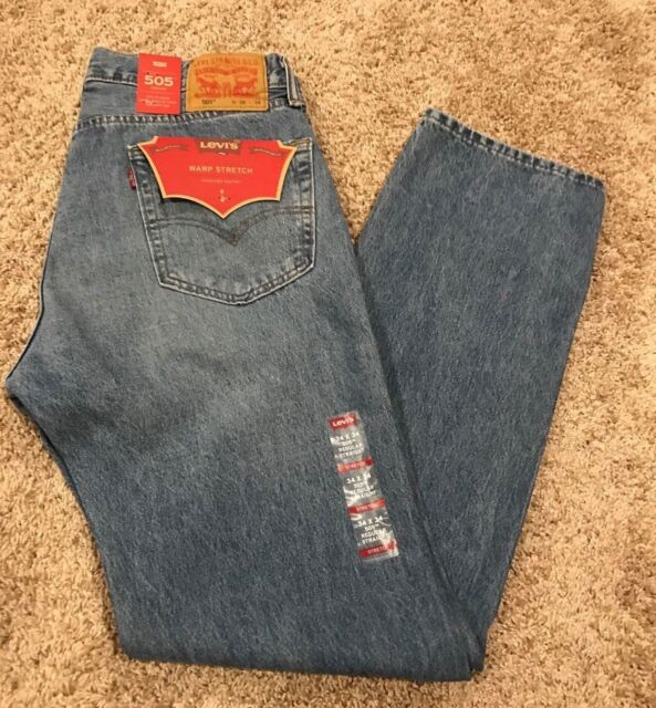 Levi's 505 Mens Jeans Regular Fit W Stretch Straight Leg 00505 1598 MSRP$59 NWT