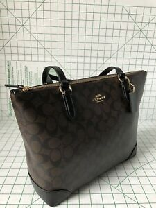 dd0520115f2a Coach F29208 Signature Coated Canvas Zip Top Tote Bag In Brown Black ...