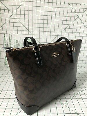 Coach F29208 Signature Coated Canvas Zip Top Tote Bag In