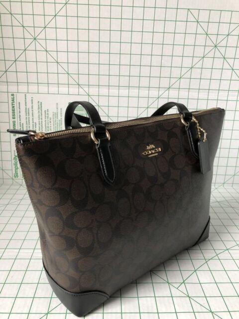 2dfb131cb4c3 Coach F29208 Zip Top Tote Shoulder Bag Signature PVC Leather Brown ...