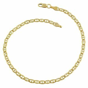 14K-Yellow-Gold-Filled-Solid-Mariner-Chain-Bracelet-3-2mm-8-5-034
