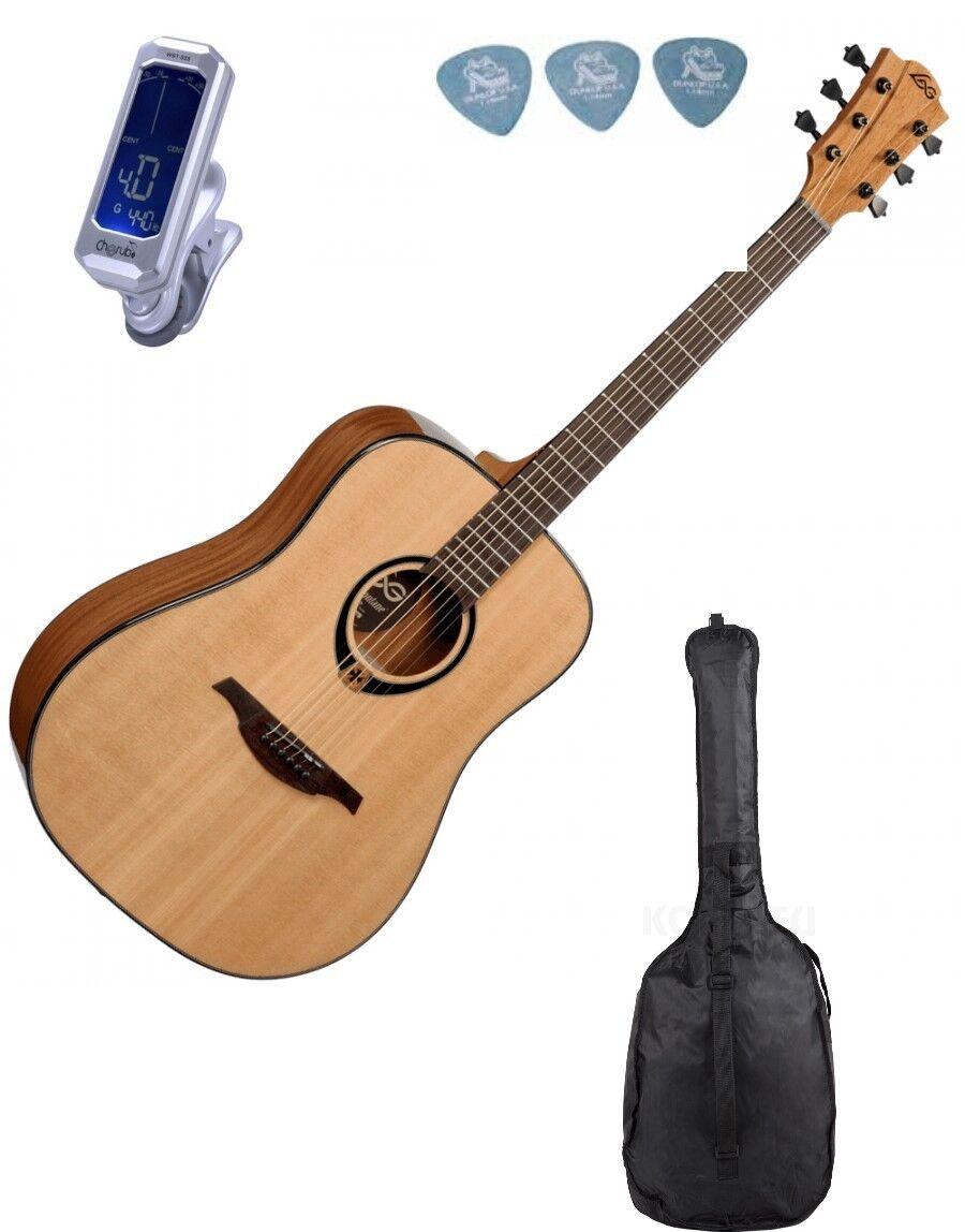 Guitare folk acoustique Lag t80d epicéa massif + accordeur + housse + mediators