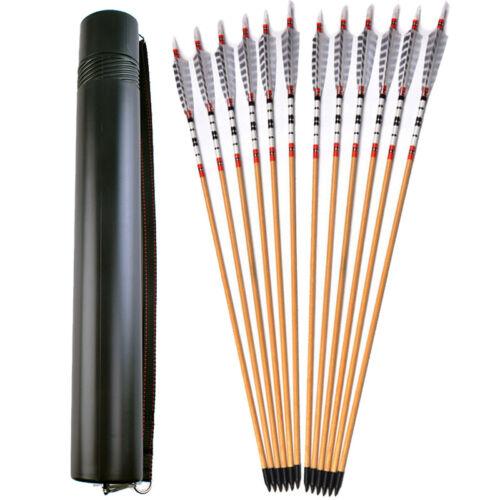 80CM Archery Wooden Arrows Practice Nocks Fletches Target Points Arrow Quiver