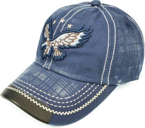 Women Men Eagle Cap Washed Cotton Embroidered Baseball Hat Adjustable Navy