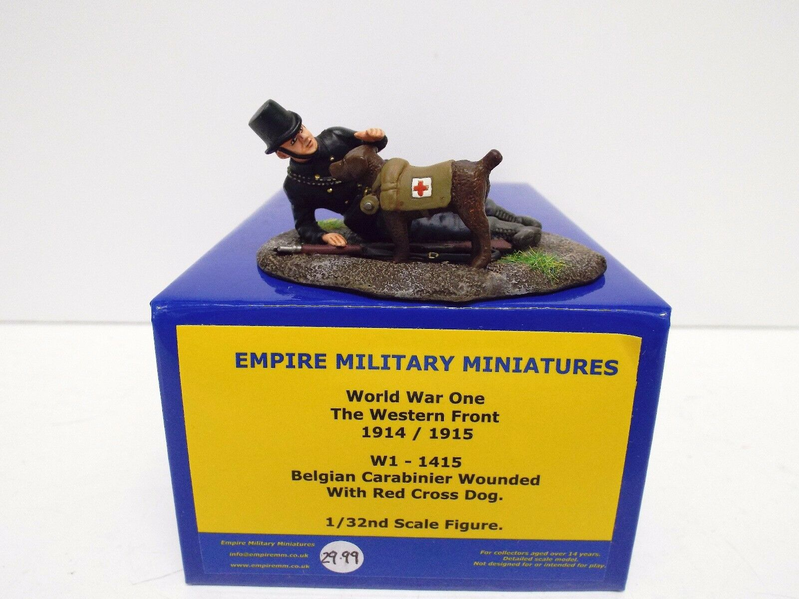 EMPIRE MILITARY MINIATURES W1-1415 BELGIAN CARABINIER WOUNDED & DOG MIB (BS2590)