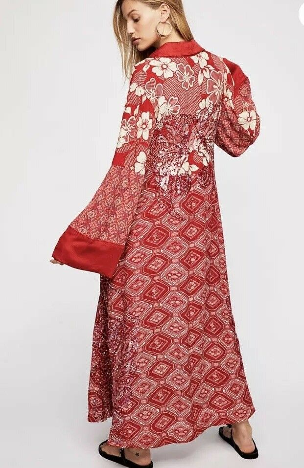 Free People Sequin Embroidered Kimono Duster Bashy Vibes Destination Unknown