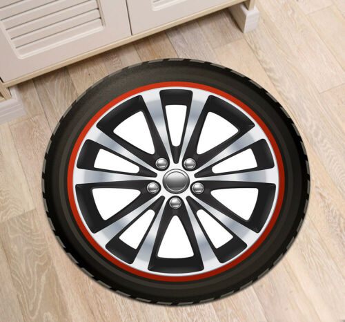 Car Tire Pattern Round Carpet Kids Play Area Rugs Living Room Floor Yoga Mat