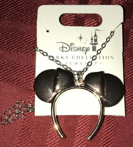 Disney Parks Minnie Mouse Ears Headband Necklace Rose Gold New