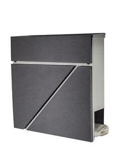 designer briefkasten edelstahl 555 front in diamant anthrazit mit zeitungsfach ebay. Black Bedroom Furniture Sets. Home Design Ideas