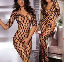 Sexy Crotchless Long Sleeve Open Net Bodystocking Catsuit Lingerie UK 6-12