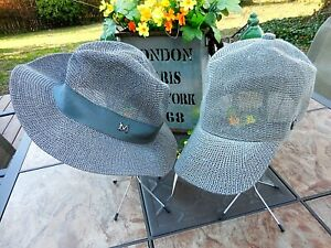 Details about Gray ~ PAPER STRAW FEDORA SUN HAT or BASEBALL CAP ~ Women's