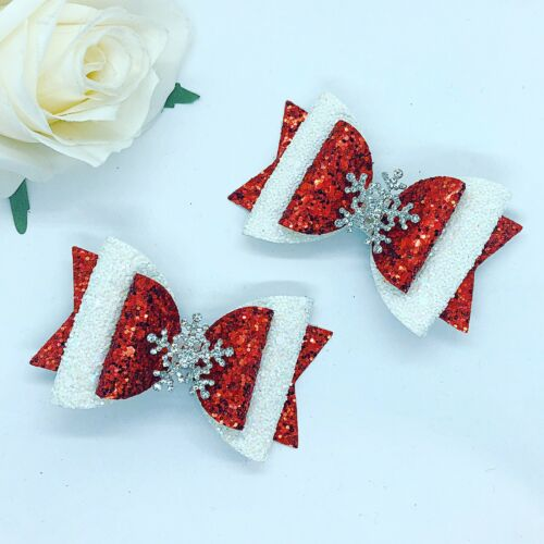 Christmas Red /& white Snowflake Set Of 2. Hair Bow