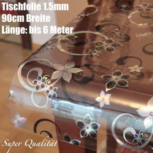 Película de Mesa PVC Lámina Mantel Schutzfilie 90CM Transparente 1,5MM Flores