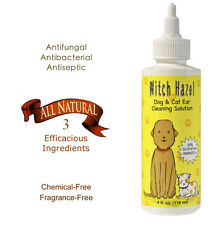 NATURAL WITCH HAZEL CAT DOG EAR CLEANER INFECTION STOP ITCH TREATMENT DROPS 4oz