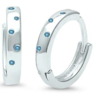 Aquamarine Huggie Hoop Earrings in Solid Sterling Silver - Gift Box included