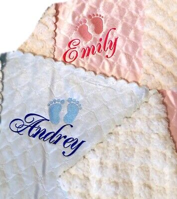 Baby Boy Girl Personalised Blanket Embroidered Name Blue