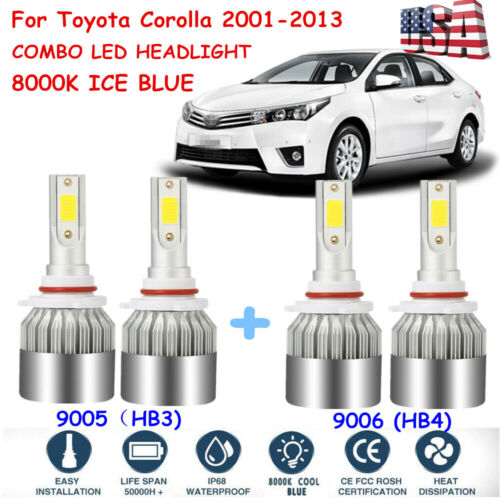 For Toyota Corolla 2001-2013 High & Low Beam Combo LED Headlight ...