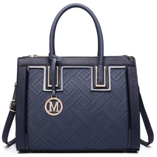 Women PU Leather Handbag Tote Large Ladies Raised Cord Work Shoulder Bag