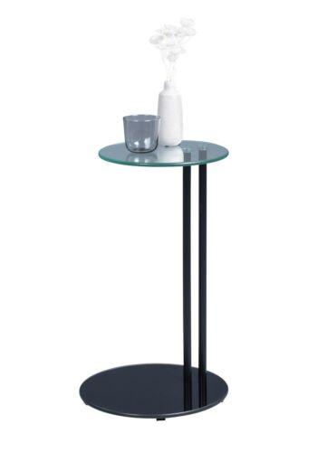 Beistelltisch Tisch FRANK 58,5x35 cm Glas schwarz lackiert