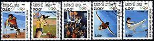 Laos-1984-Olimpiadi-di-Los-Angeles-5-pezzi-usati-m1359