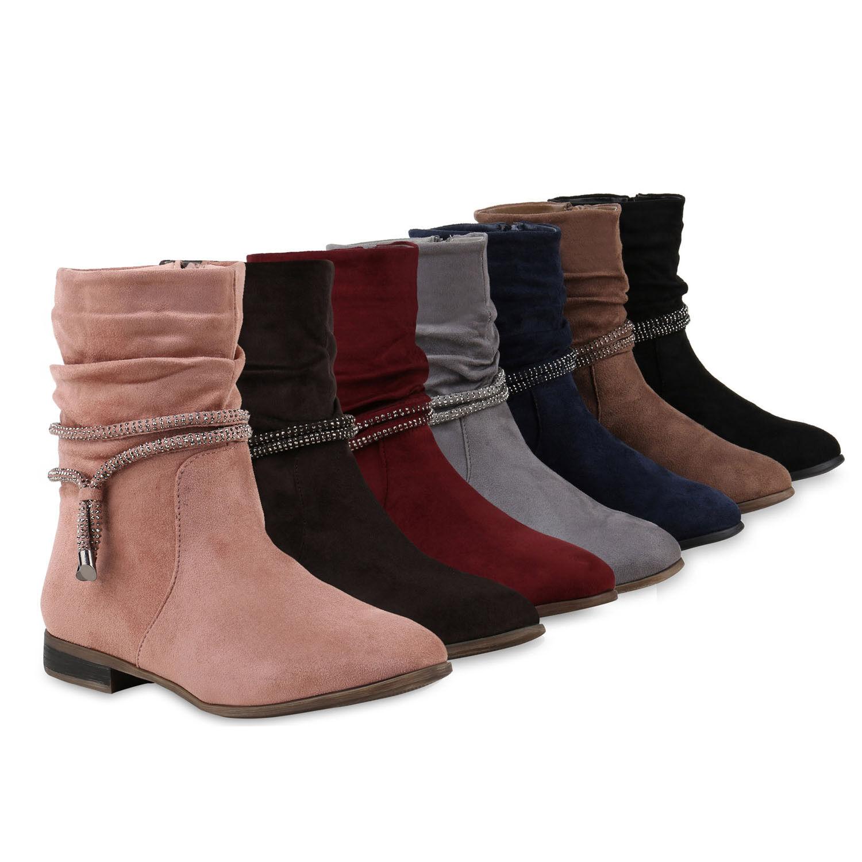 Klassische Damen Stiefeletten Gefütterte Strass Stiefel 812085 Schuhe