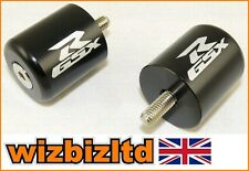 Pair of GSX-R Logo Black BAR Ends Suzuki GSXR750 1996-2005 BARSGSXRBLK