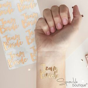 TEAM-BRIDE-Temporary-Hen-Party-Tattoos-x-16-Rose-Gold-Alternative-to-Badges