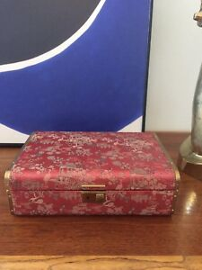 Vintage Farrington Chinoiserie Silk Jewelry Box With Velvet And Silk