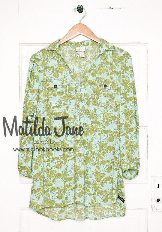 MATILDA JANE Secret Fields Grün Dappled Piper Top Größe M Medium EUC