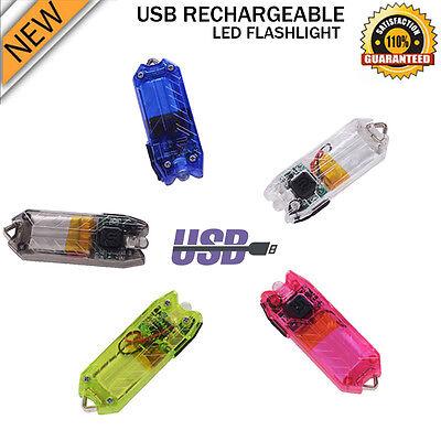 Portable 50LM 2 Modes Mini LED Flashlight USB Rechargeable Key Chain Light Lamp