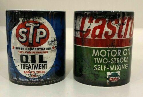 VINTAGE STP CASTROL CAR DISTRESSED OIL CAN MUG CUP  RETRO DUB COOL X2