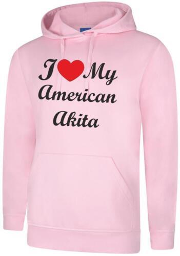 I Love My American Akita Dog Ladies Womens Hoody Hoodie Hooded Sweatshirt