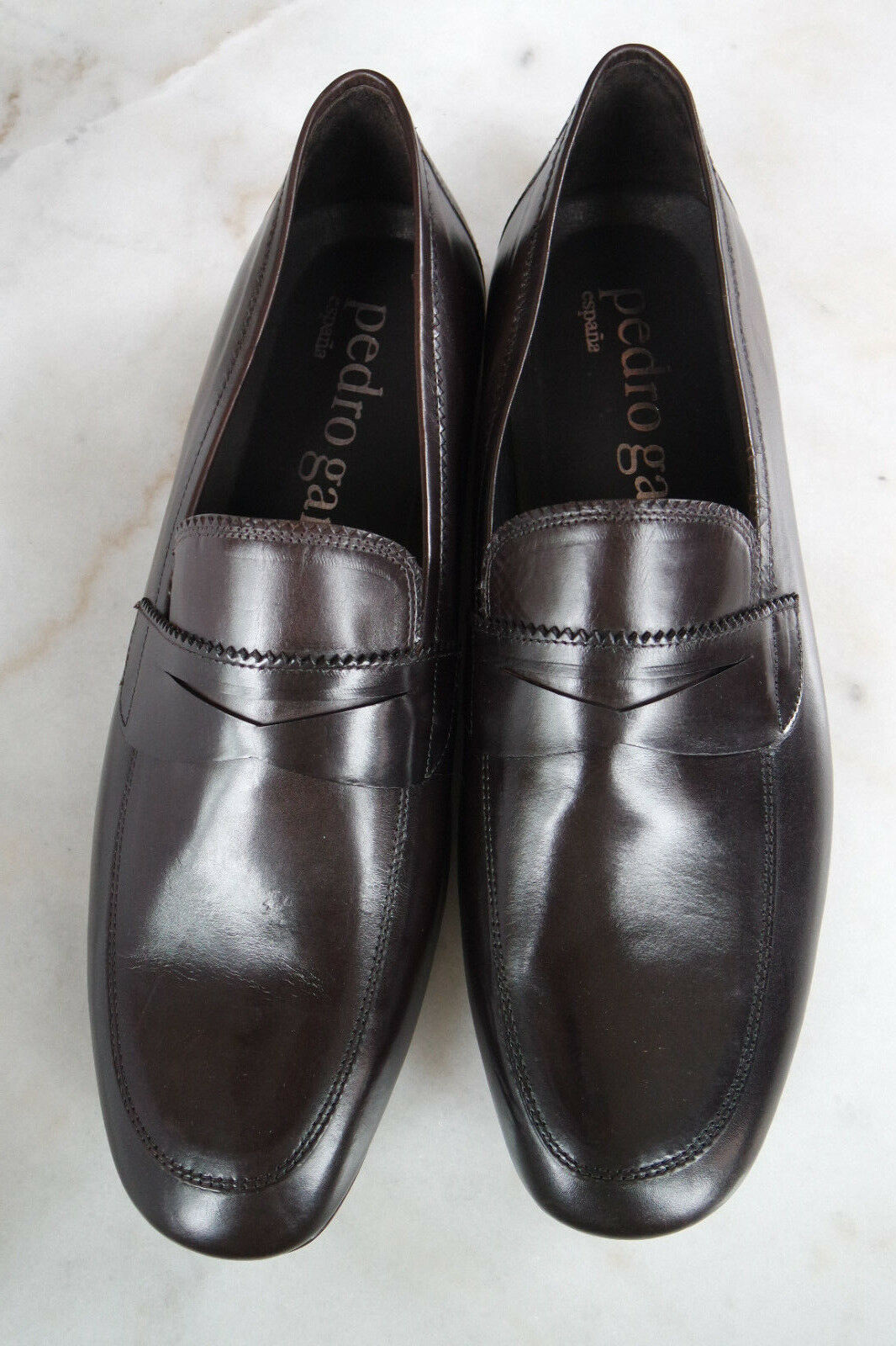 PEDRO GARCIA Men's Dark Brown Leather Slip-Ons Venetians Moccasins Loafers shoes