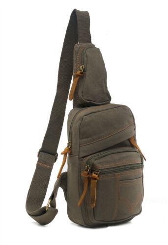 Men Vintage Style Canvas Leather Satchel School Military Shoulder Messenger Bag