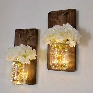 Mason Jar Hanging Candle Sconce Wall Sconce with LED Fairy ...