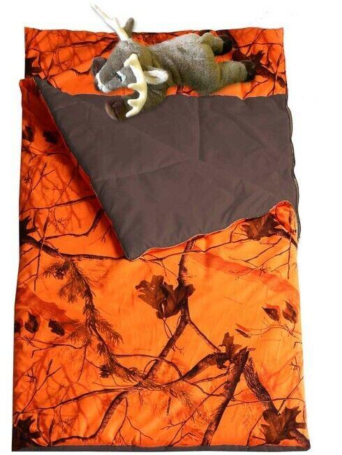 Neuf avec étiquettes Camouflage Pyjama Sac avec oreiller-Sous Licence Realtree Blaze Orange