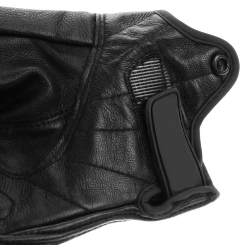 Men Leather Motorcycle Gloves Perforated Pursuit Street Stealth Black M L XL