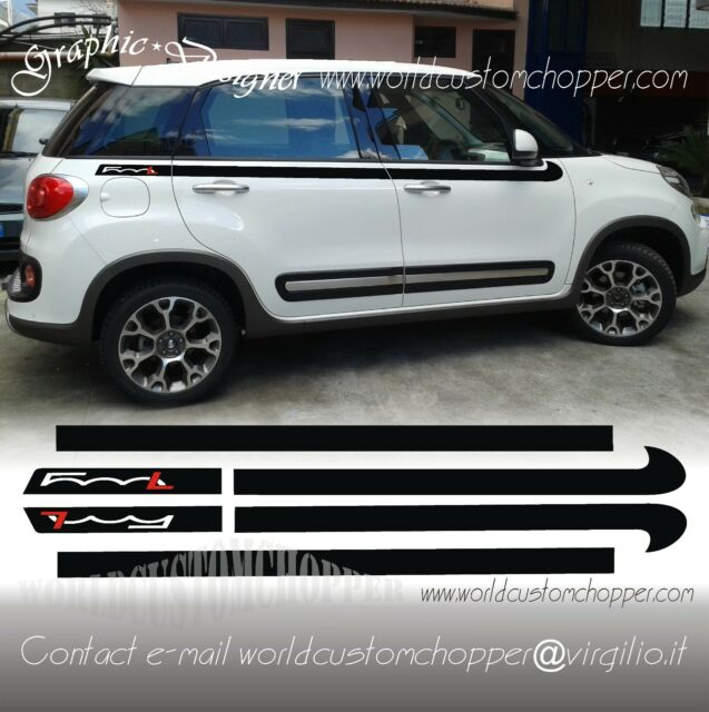 Set Bands Adhesive Decal Stickers Bands Upper FIAT 500 L Car Tuning Sport