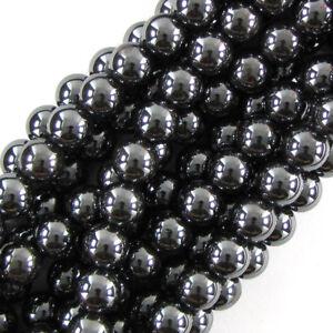 "Natural Hematite Round Beads Gemstone 15"" Strand 2mm 3mm 4mm 6mm 8mm 10mm 12mm"
