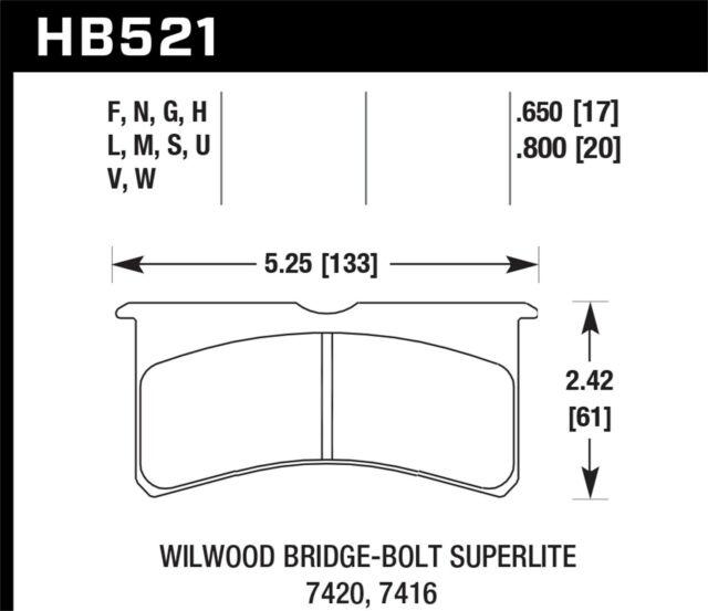 Hawk Performance HB521U.800 Disc Brake Pad