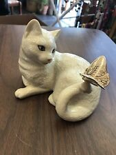 Lenox White Cat Enchantment with Butterfly on Tail Figurine MINT
